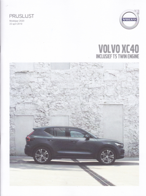 XC40 with T5 Twin engine pricelist brochure, 20 pages, MY20, 04/2019, Dutch language