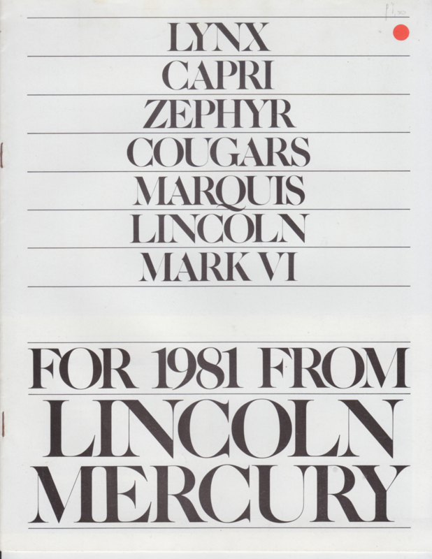Lincoln-Mercury program,  12 pages, 8/1980, # P-108, USA