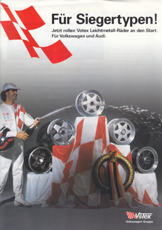 Audi & Volkswagen Votex wheels leaflet, 2 pages, about 1984, German language