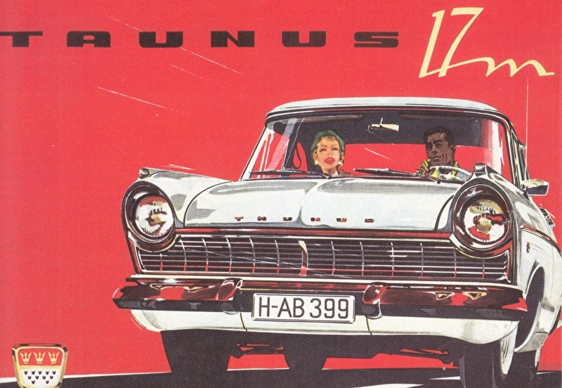 Taunus 17 M 1957, A6-size postcard for 75 Years Ford Germany, 2000