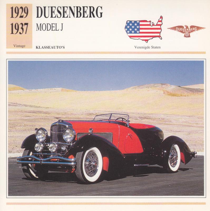 Duesenberg Model J card, Dutch language, D5 019 03-20