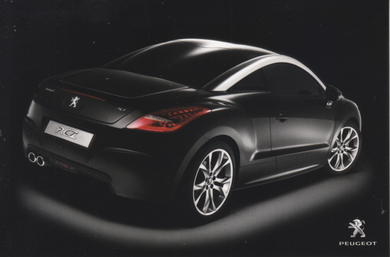 RCZ Coupe, A6-postcard, Belgium, about 2010