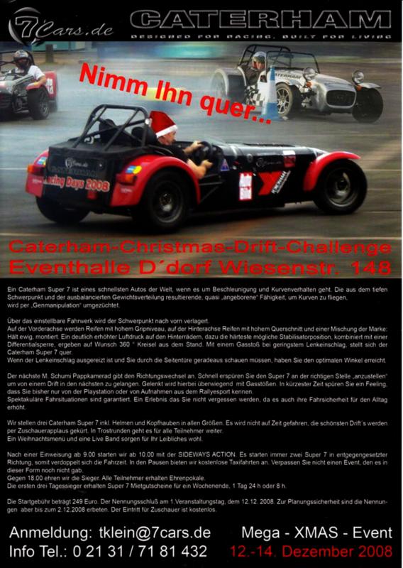 Caterham Super 7 Christmas Drift challenge leaflet, 2 pages, 12/2008, German language