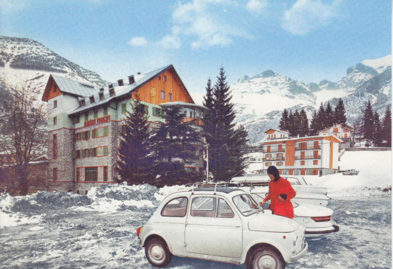 Fiat 500 in mountains, DIN A6-size, unused, Dutch issue, 2008