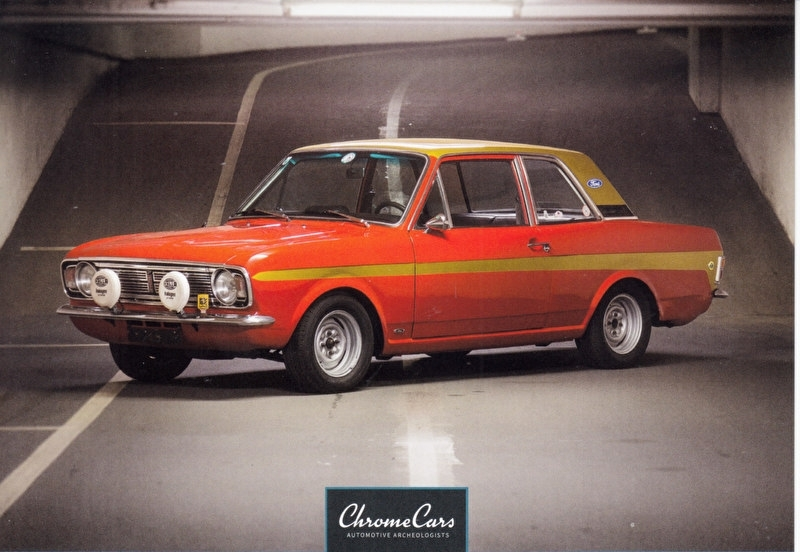 Cortina Lotus Mk 2 1968, postcard of Chromecars classics , 2016