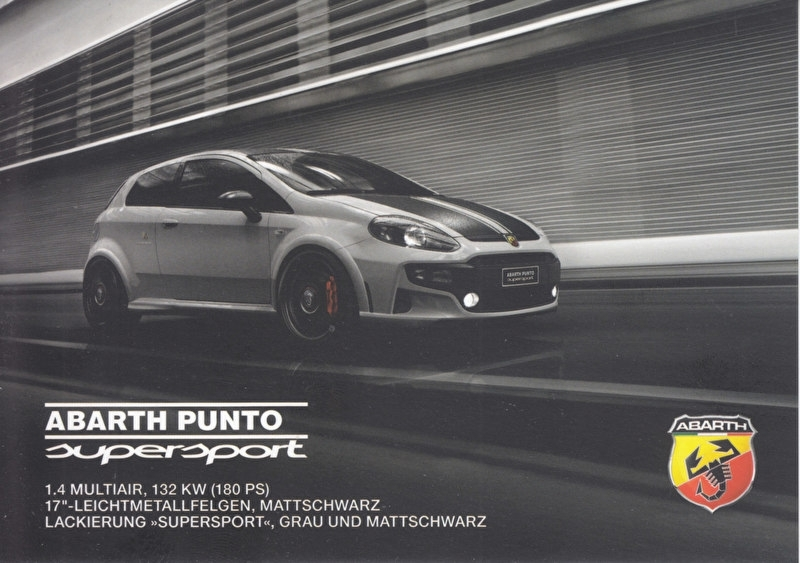 Punto Supersport 1.4 MultiAir, DIN A-6 size, German language, about 2013