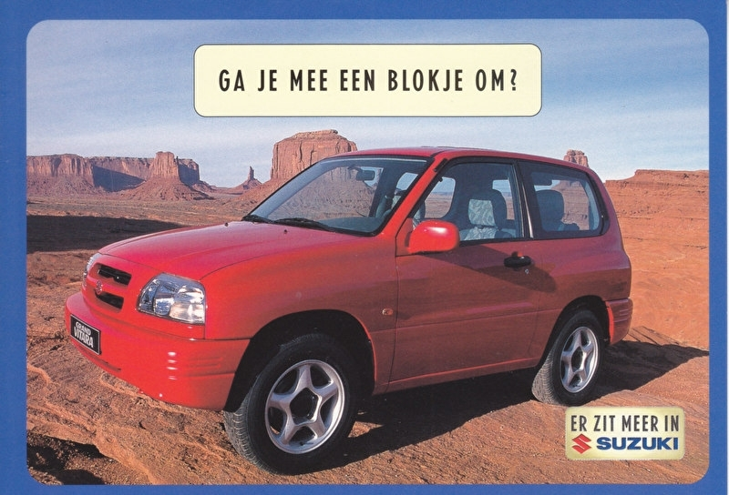 Grand Vitara Metal Top 2.0, DIN A6-size postcard, Dutch language, 1999