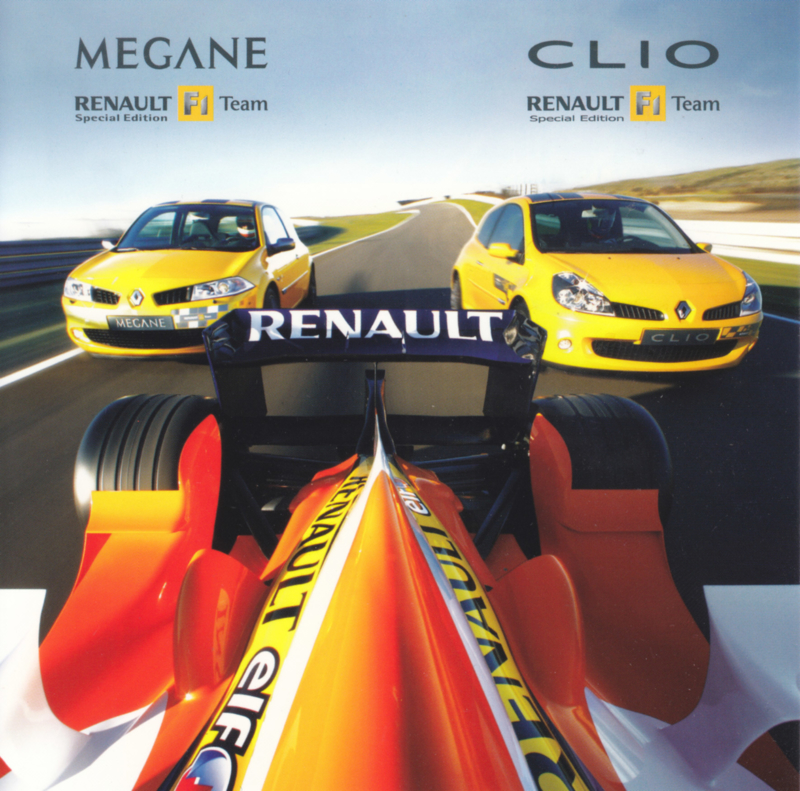Megane & Clio Sport & Formula 1 team, square postcard, 2007