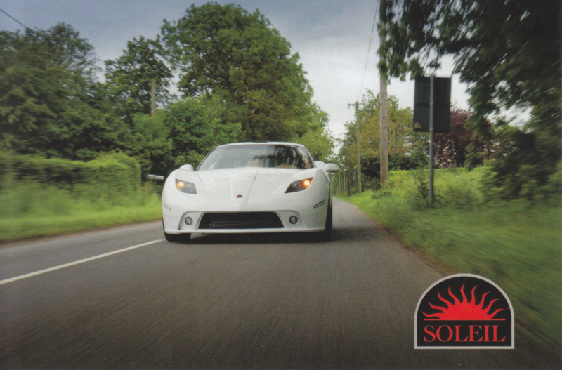 Anadi sports car with 6.2 L V8 engine, advertising postcard, English text, 2014