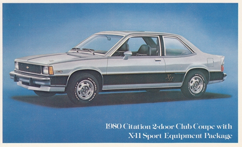 Citation 2-Door Club Coupe X-11,  US postcard, standard size, 1980