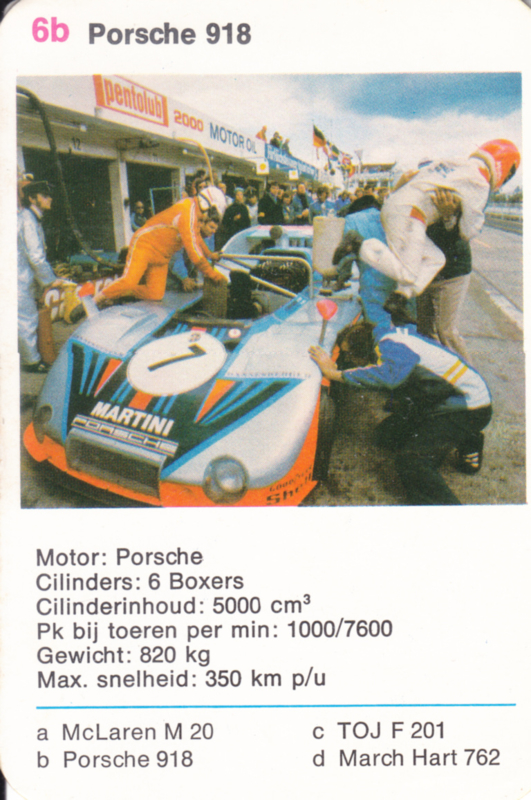 918 racer - card 6b - size 10 x 6,5 cm, Dutch language