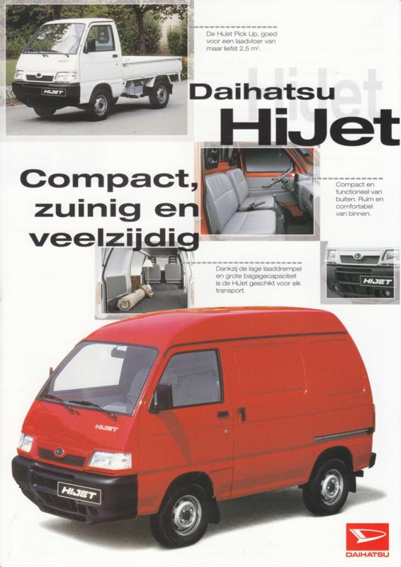 HiJet Van & Pickup leaflet, 2 pages, 09/1998, A4-size, Dutch language