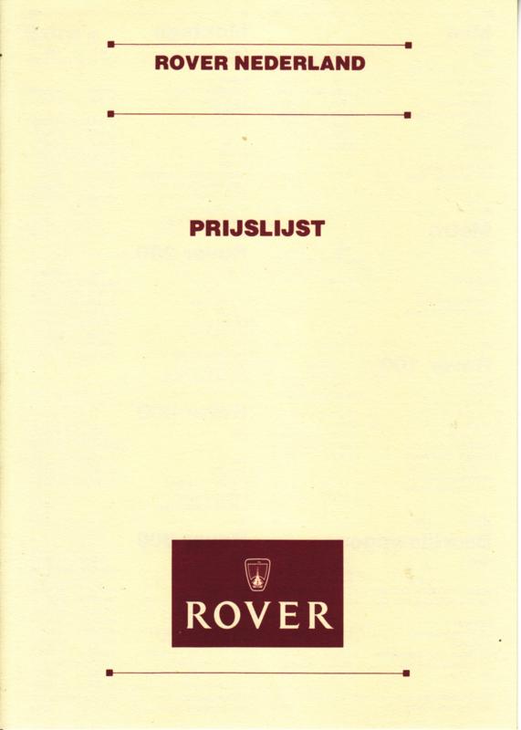 Pricelist folder, 4 pages, DIN A5-size, 01/1991, Dutch language, # 74