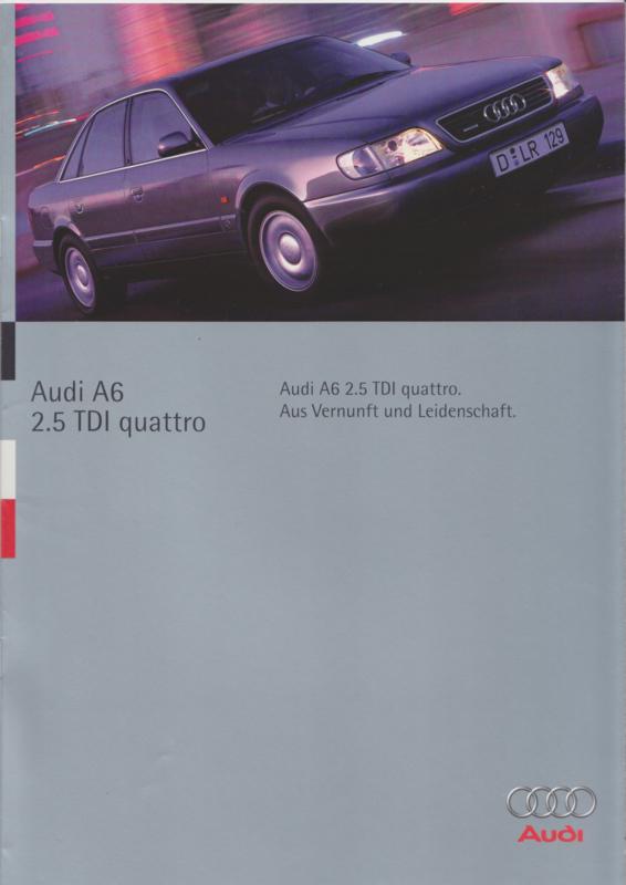 A6 2.5 TDI quattro brochure, 18 pages, 04/1995, German language
