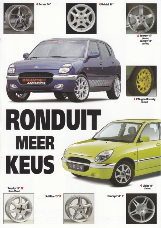 Sirion & Terios wheels leaflet, 2 pages, about 1998, A4-size, Dutch language