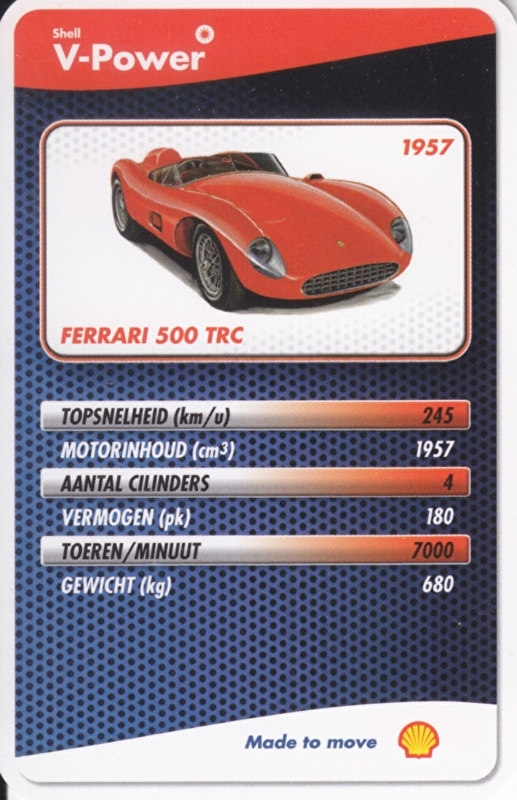 Ferrari 500 TRC 1957 collector card, small size,  Shell V-Power issue, 2007 (# 10 of 24)