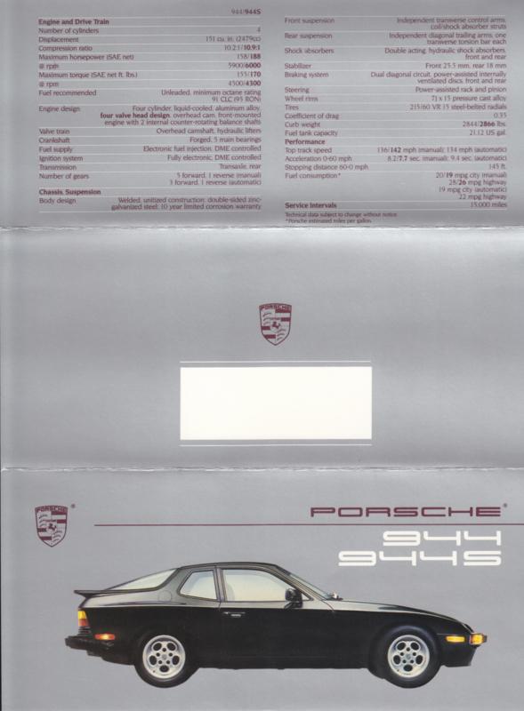 944 / 944 S brochure, 6 pages, 1988, English (USA)
