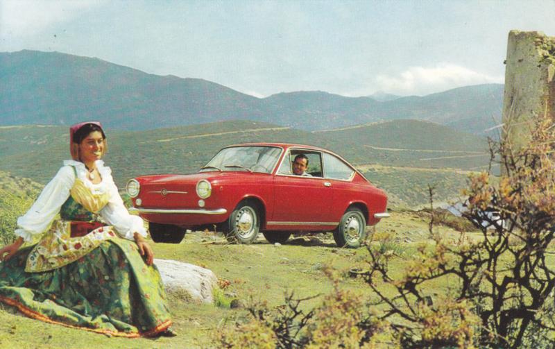 850 Coupé, standard size, Italian postcard, undated, about 1967