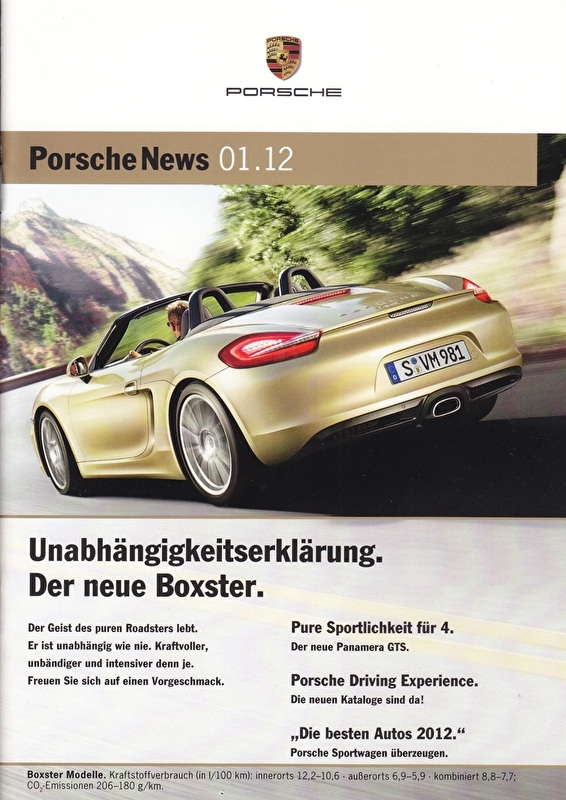 News 01/2012 with Boxster, 26 pages, 02/12, German language
