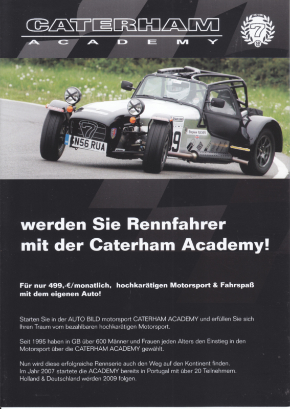 Caterham Academy brochure,  4 pages, about 2009, German language