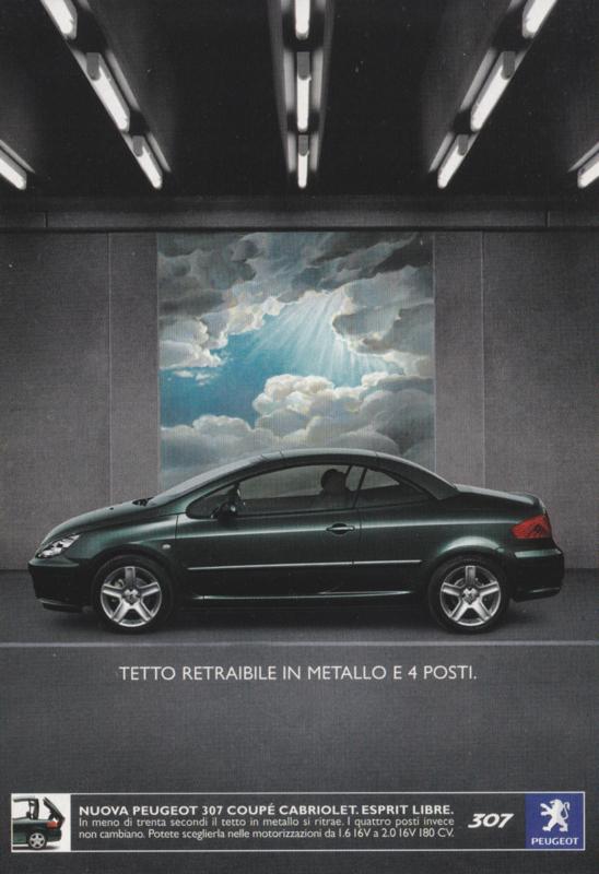 307 Coupé Cabriolet postcard, A6-size, Promocard, Italian language, # 4220