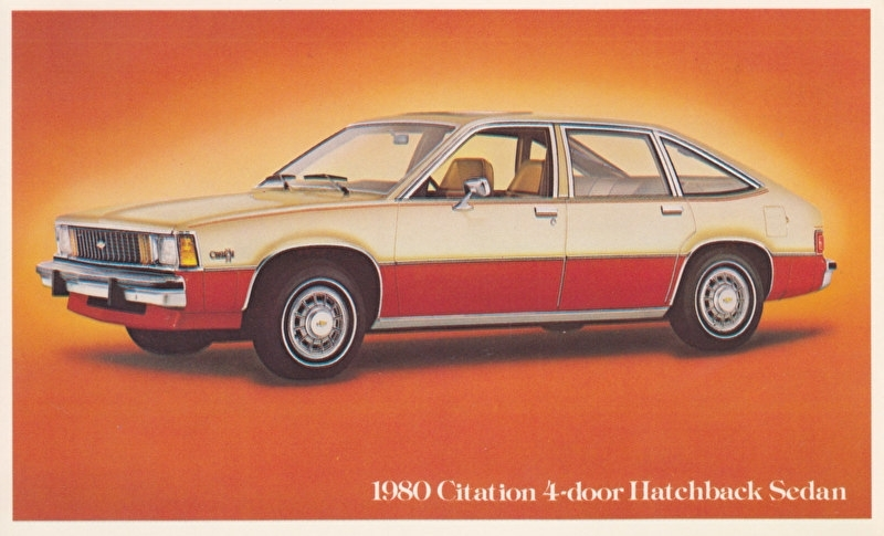 Citation 4-Door Hatchback Sedan,  US postcard, standard size, 1980
