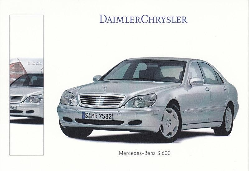 Mercedes-Benz S 600 Sedan, A6-size postcard, IAA 1999, German