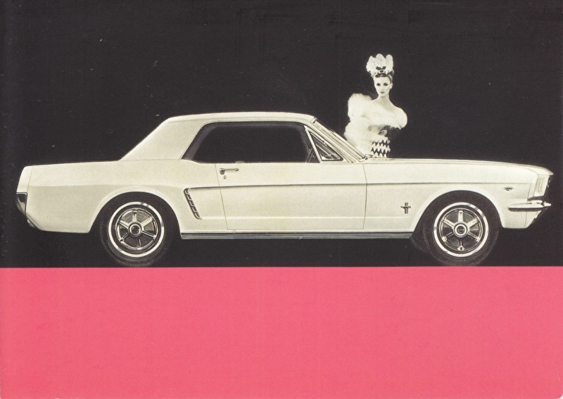 Mustang Coupe 1964, A6-size postcard for 75 Years Ford Germany, 2000