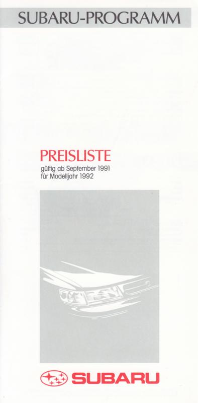 Pricelist brochure, 6 pages, German language, 09/1991
