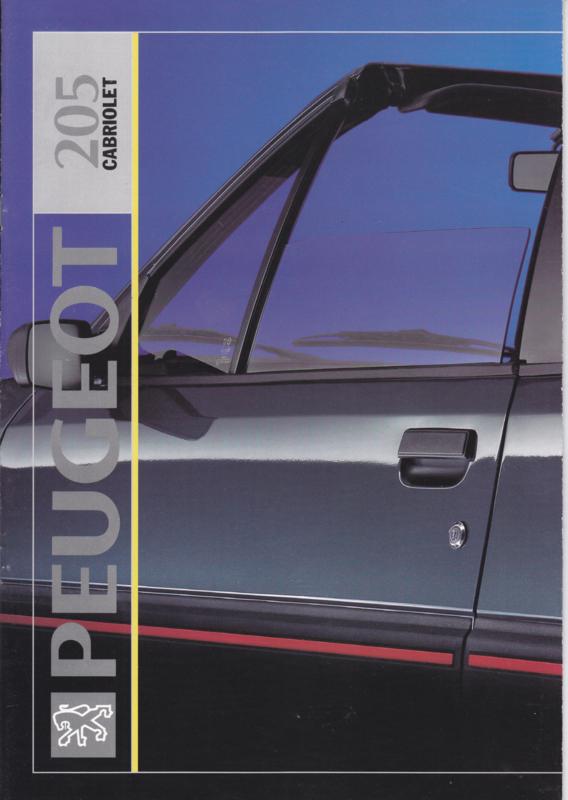 205 Cabriolet brochure, 12 pages, A4-size, 8/1991, 3 languages (Suisse)