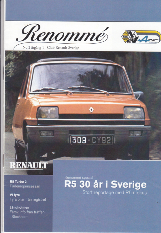 Renommé Renault magazine,  A5-size, 20 pages, Swedish language, issue 2