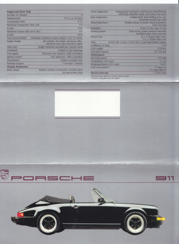 911 Carrera Convertible brochure, 6 pages, 1987, English (USA)