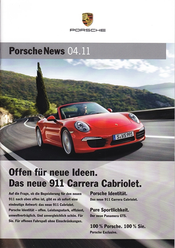 News 04/2011 with 911 Carrera Cabriolet, 26 pages, 11/11, German language