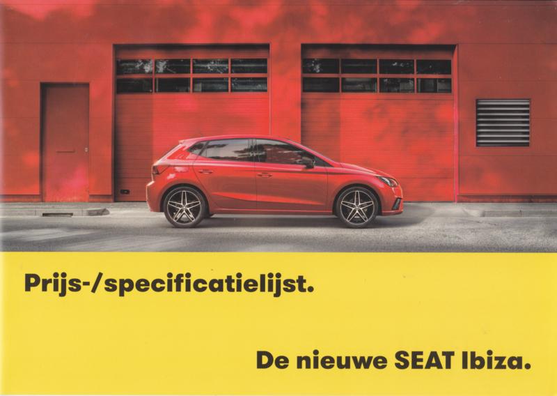 Ibiza new model pricelist brochure, 4 pages, 2017, Dutch language