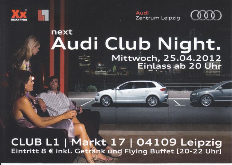 Audi Club night Leipzig postcard, A6-size, German language, 04/2012, Austria