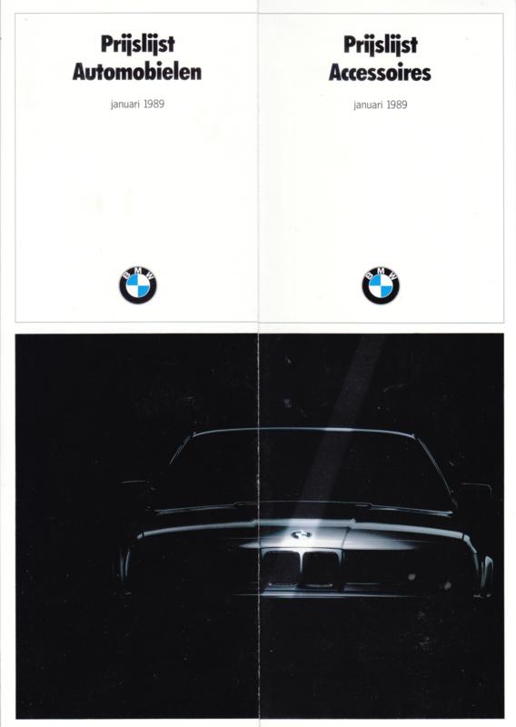 Program pricelist & accessories brochure, 8 pages, half  A4-size, 1/1989, Dutch language