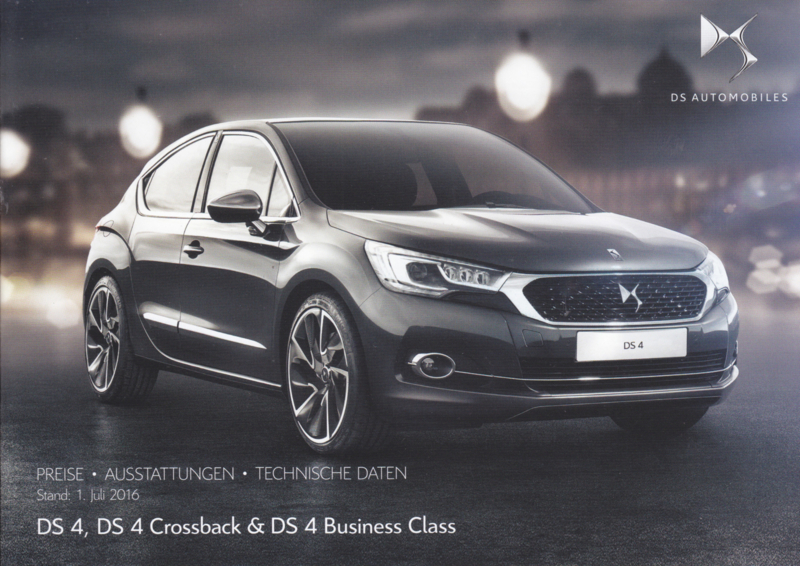DS 4 prices & specifications brochure, 24 pages, 07/2016, German language