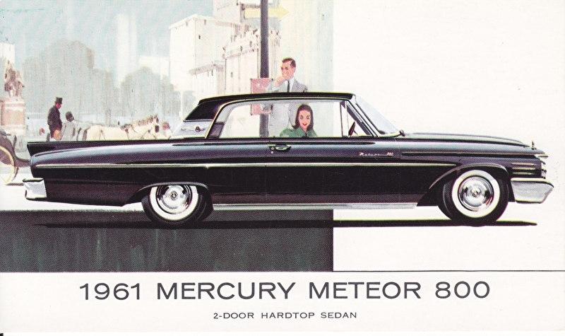 Meteor 800 2-Door Hardtop Sedan, US postcard, standard size, 1961