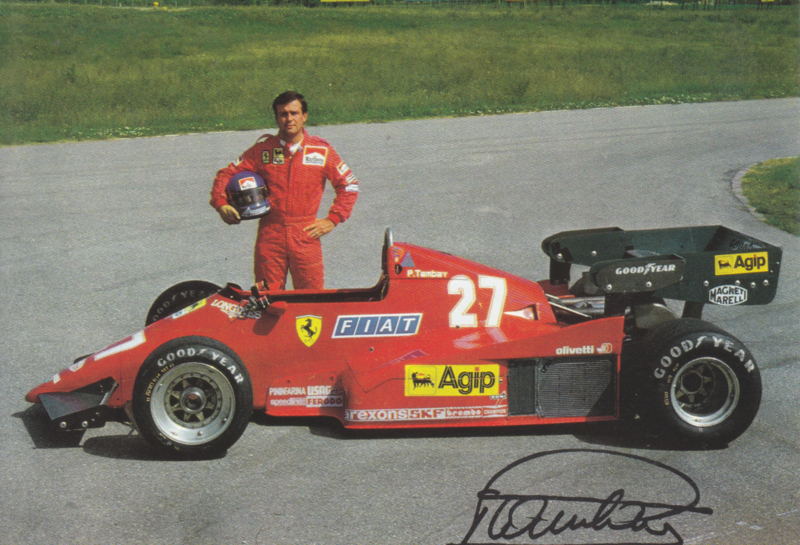 Formula One autogram postcard with driver Patrick Tambay, about 1983