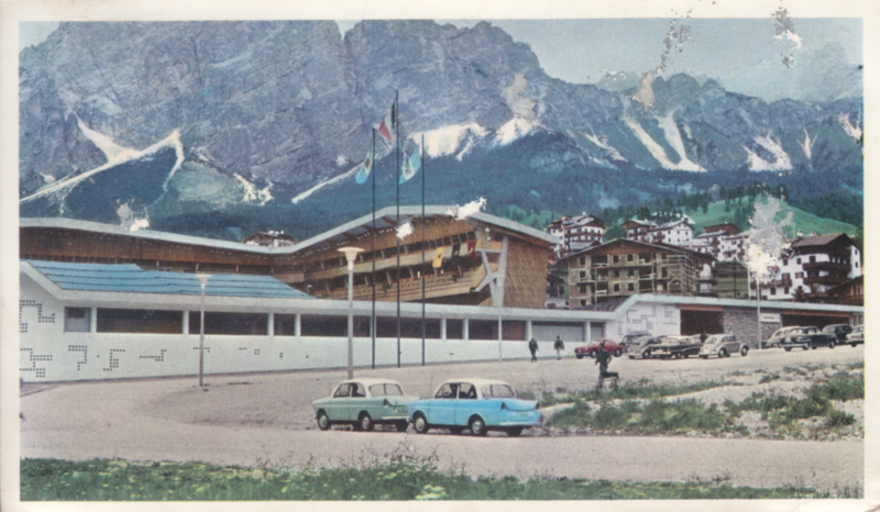 600 Sedan on tour (Cortina d'Ampezzo), standard size, factory issue, 5 languages, about 1963