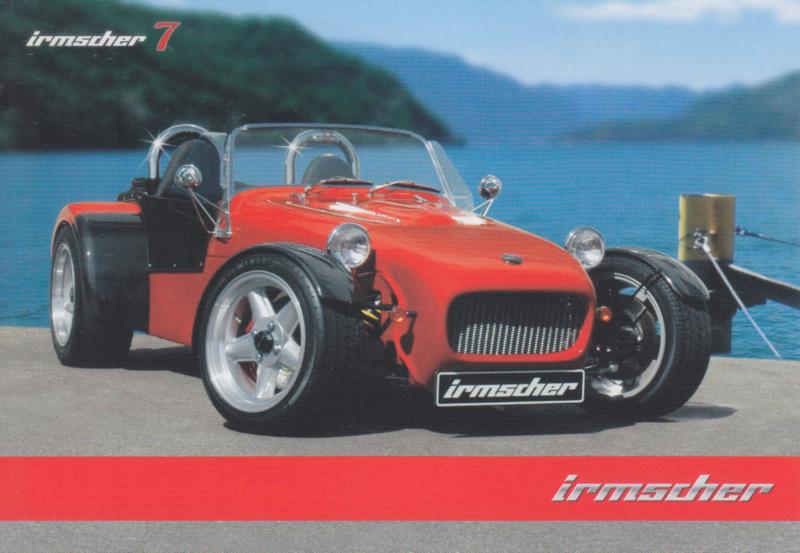 Irmscher 7 Roadster, advertising postcard, German, about 2010