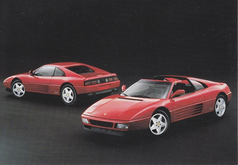 348 Coupe/Targa, A6-size postcard, Dutch importer issue, about 1992