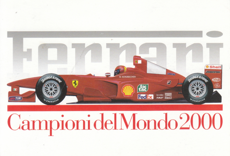 Formula One autogram postcard with driver Michael Schumacher, 2000, # 1634