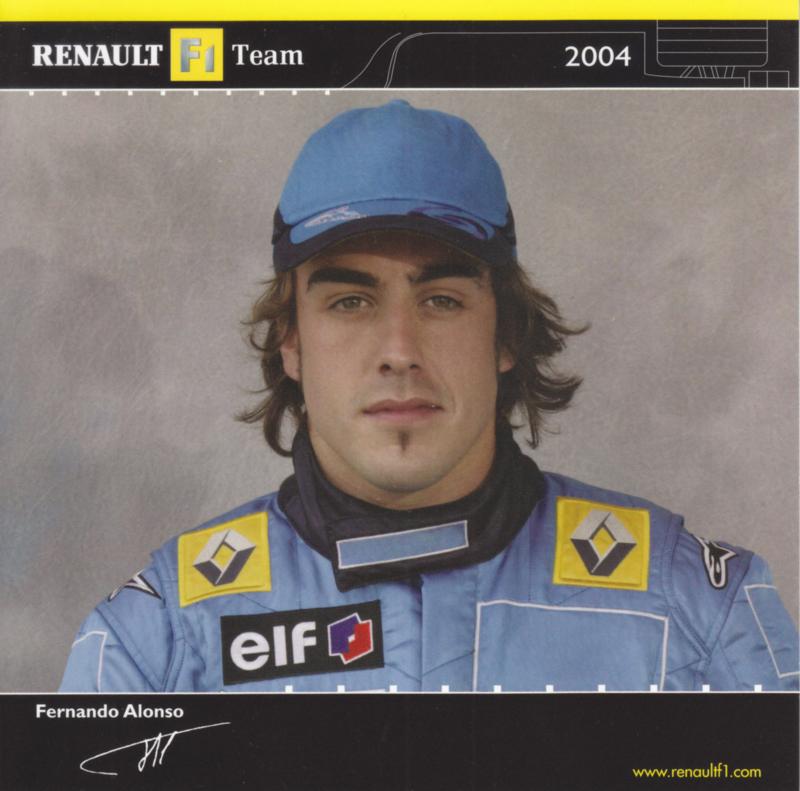 Formula 1 team driver Fernando Alonso, square postcard, 2004