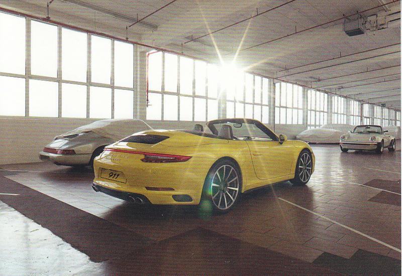 911 Carrera 4S Cabriolet,  A6 postcard, 2016,  German language