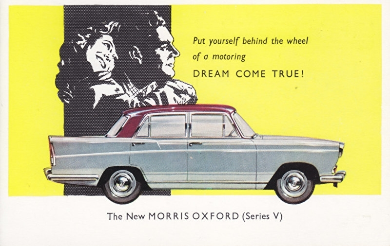 Oxford Series V Saloon 1500cc, standard size postcard, UK, early 1960s