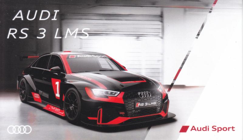 RS 3 LMS race car, postcard, English language, about 2014