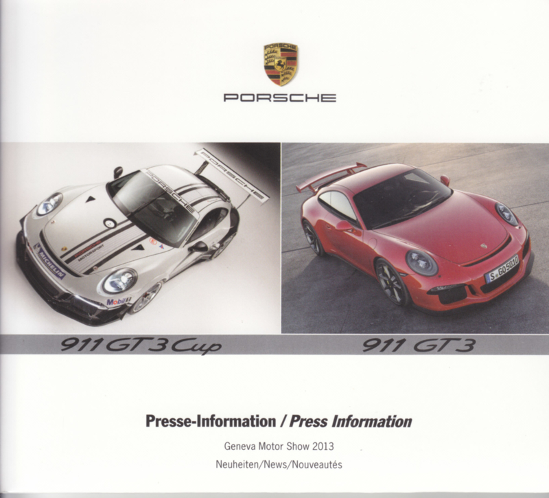 Porsche Press Kit Geneva 2013, memory stick with pictures & small booklet, factory-issued,  German/English/French