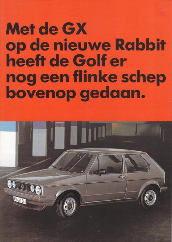 Golf Rabbit GX brochure, A4-size, 4 pages, 3/1983, Dutch language