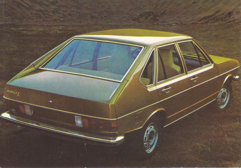 Passat 4-door Hatchback postcard,  A6-size, about 1973, # 4